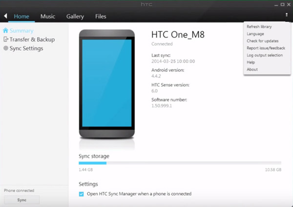 Interfaccia HTC Sync Manager